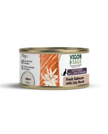 Vigor & Sage Kattenvoer - Natvoer Kat met Verse Zalm - Lily Root